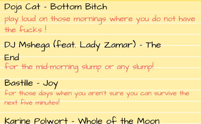 Self-care playlist November2019